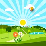 Vector Park Sunny Day Illustration. With Flowers and Swans Royalty Free Stock Photography