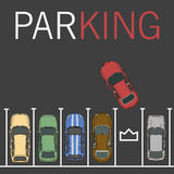 Vector parking lot illustration. Car and transportation, auto park, empty row/ car top view Stock Image