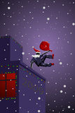 Vector parkour Santa Claus. With bag Royalty Free Stock Photography
