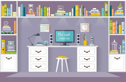 Vector parlor, home library or workspace. Interior design office. Room with furniture, a desk, shelves for books. Vector illustration in flat style. Working Royalty Free Stock Images