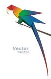 Vector parrot on a branch. Vector origami parrot on a branch corner corner decoration Royalty Free Stock Photography