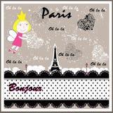 Vector París retra Chica Imagenes de archivo