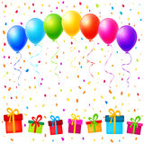Vector party background with colorful balloons, gifts and confet. Ti Stock Images
