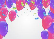 Vector party background with confetti and balloons. Eps. 10 Royalty Free Stock Image