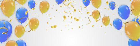 Vector party background with confetti and balloons. Eps.10 Royalty Free Stock Image