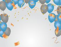 Vector party balloons illustration. Confetti and ribbons flag ri. Bbons, Celebration background template Royalty Free Stock Image