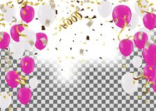 Vector party balloons illustration. Confetti and ribbons flag Ce. Lebration background template typography for greeting card, festive poster etc Stock Images