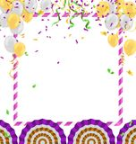 Vector party balloons illustration. Confetti and ribbons flag Ce. Lebration background template typography for greeting card, festive poster etc Royalty Free Stock Image
