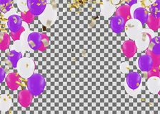 Vector party balloons illustration. Confetti and ribbons flag Ce. Lebration background template typography for greeting card, festive poster etc Stock Image