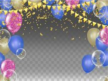 Vector party balloons illustration. Confetti and ribbons flag ri. Bbons, Celebration background template Stock Image