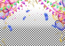 Vector party balloons illustration. Confetti and ribbons flag ri. Bbons, Celebration background template Royalty Free Stock Images