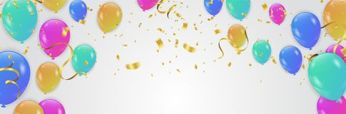 Vector party balloons illustration. Confetti and ribbons flag ri. Bbons, Celebration background template Royalty Free Stock Photography