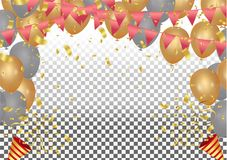 Vector party balloons illustration. Confetti and ribbons flag ri. Bbons, Celebration background template Royalty Free Stock Photos