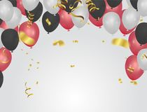 Vector party balloons illustration. Confetti and ribbons flag ri. Bbons, Celebration background template Royalty Free Stock Photo