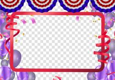 Vector party balloons illustration frame template with confetti. And Colorful ribbons Royalty Free Stock Images