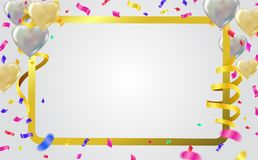 Vector party balloons illustration frame template with confetti. And Colorful ribbons Royalty Free Stock Image