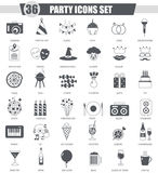Vector Party black icon set. Dark grey classic icon design for web. Stock Images