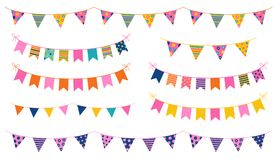Vector party buntings with colorful flags. With dots and stripes for kid birthdays, brochures and graphic design Royalty Free Stock Photography