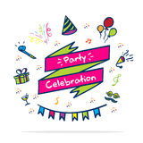 Vector : Party celebrate banner with party icon in doodle style Stock Images
