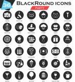 Vector Party circle white black icon set. Ultra modern icon design for web. Royalty Free Stock Photo