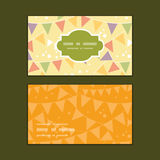 Vector party decorations bunting horizontal frame. Pattern business cards set graphic design Royalty Free Stock Images
