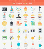 Vector Party Flat icon set. Elegant style design Stock Image
