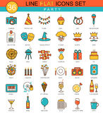 Vector Party flat line icon set. Modern elegant style design  for web. Stock Photo