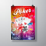 Vector Party Flyer design on a Casino theme with chips and cards on color background. Royalty Free Stock Photography