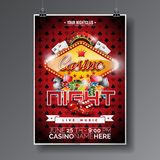 Vector Party Flyer design on a Casino theme with chips and cards on dark symbols background. Vector Party Flyer design on a Casino theme with chips and game stock illustration