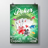 Vector Party Flyer design on a Casino theme with chips and cards on green background. Stock Images