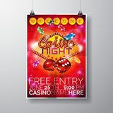 Vector Party Flyer design on a Casino theme with chips and dices on red background Royalty Free Stock Images