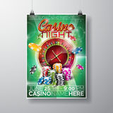 Vector Party Flyer design on a Casino theme with chips and roulette wheel on green background. Stock Photography