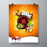 Vector Party Flyer design on a Casino theme with roulette wheel on grunge background. Eps 10 illustration Stock Photography