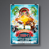 Vector Party Flyer design on a Casino theme with roulette wheel and summer elements on ocean landscape background Royalty Free Stock Images