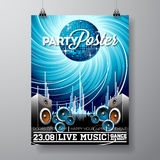 Vector Party Flyer Design with music elements on blue background Royalty Free Illustration
