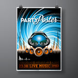 Vector Party Flyer Design with music elements on blue background. Speakers and headphone. Stock Photography