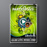 Vector Party Flyer Design with music elements on grunge background. Royalty Free Stock Photo