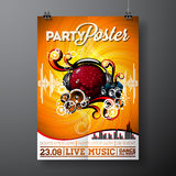 Vector Party Flyer Design with music elements on grunge background. Stock Images