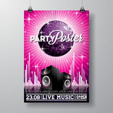Vector Party Flyer Design with music elements on violet background. Speakers and disco ball. Royalty Free Stock Photography