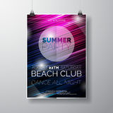 Vector Party Flyer poster template on Summer Beach theme with abstract shiny background.  Royalty Free Stock Photos