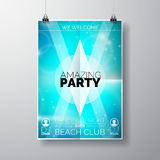 Vector Party Flyer poster template on Summer Beach theme with abstract shiny background.  Royalty Free Stock Image