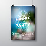 Vector Party Flyer poster template on Summer Beach theme with abstract shiny background.  Royalty Free Stock Photo
