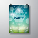 Vector Party Flyer poster template on Summer Beach theme with abstract shiny background.  royalty free illustration