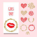 Vector party greeting or invintation card with  red lipstic stamp in golden wreath. Set of decorative elements: hand drawn frames,. Vector party greeting or Royalty Free Stock Photo