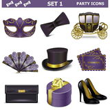 Vector Party Icons Set 1 Royalty Free Stock Image