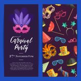 Vector party invitation with masks and party accessories. Vector party invitation template with masks and party accessories illustration royalty free illustration