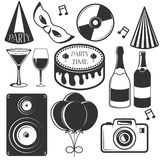 Vector party set of emblems, badges, stickers or banners. Design elements in vintage style. Black icons and logo Stock Image