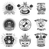 Vector party set of emblems, badges, stickers or banners. Design elements in vintage style. Black icons and logo Royalty Free Stock Photos