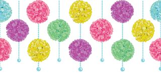 Vector Party Set of Hanging Pastel Colorful Birthday Party Paper Pom Poms and Beads Horizontal Seamless Repeat Border Stock Photography