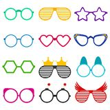 Vector party sunglasses or eyeglasses set in funny shape. Accessories for hipsters fashion optical spectacles eyesight. View. Colorful sunglasses icon set in Royalty Free Stock Photos
